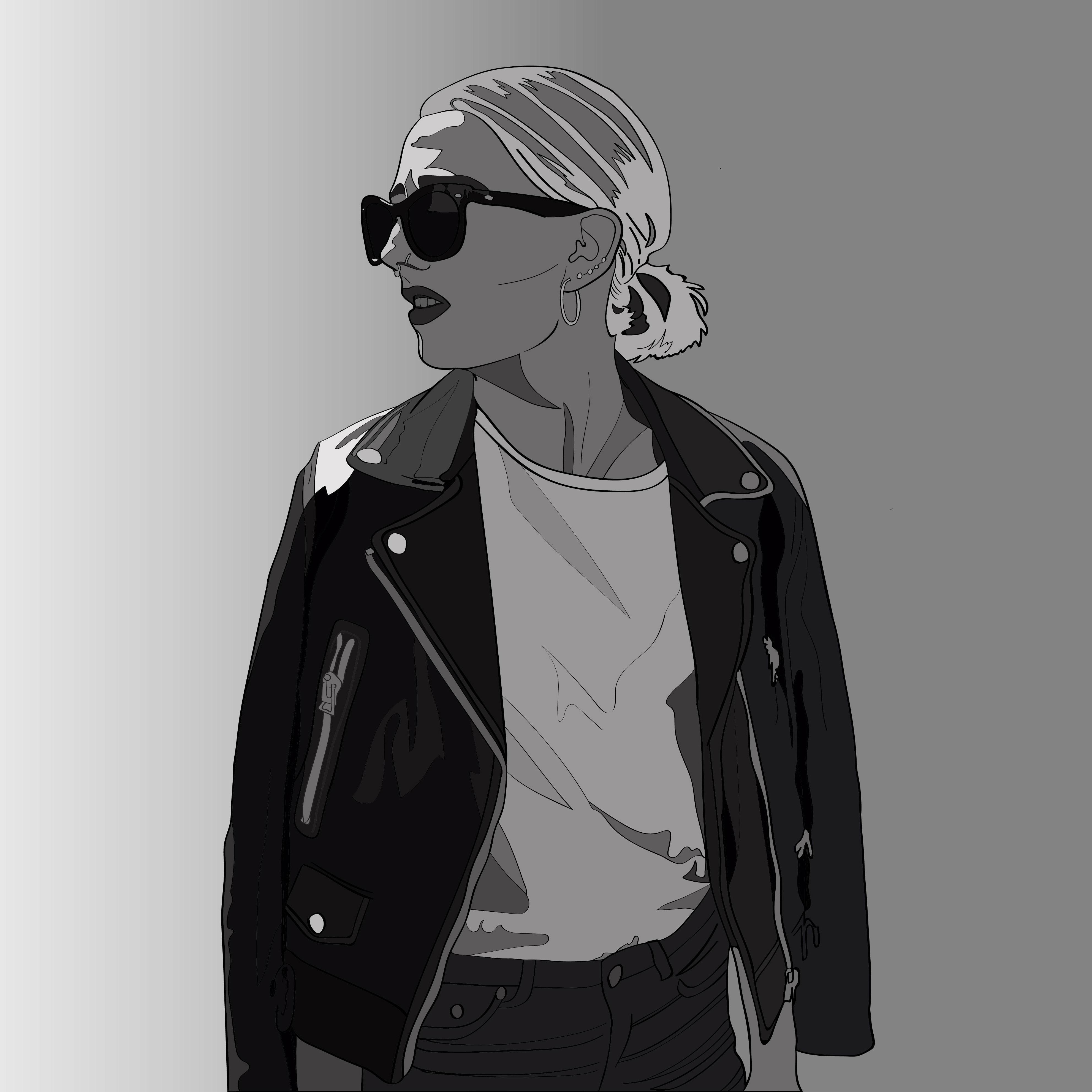 Elin: Black&White Detailed Line Art